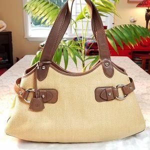 Banana Republic Woven Straw/Leather Bag